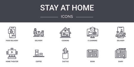 10 stay at home concept line icons set.