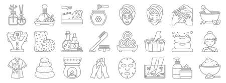 spa line icons. linear set. quality vector line.