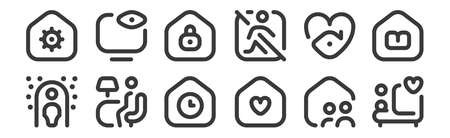 12 set of linear stay at home icons. thin outline. Illustration