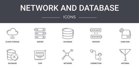 10 network and database concept line icons set.