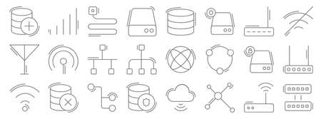 network and database line icons. linear set. quality vector line. Vettoriali