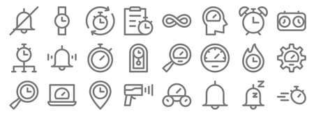 speedometer and time line icons. linear set. quality vector line