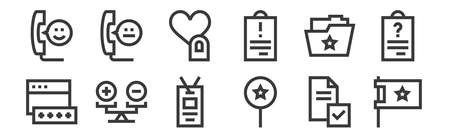 12 set of linear feedback and testimonials icons.