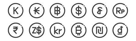 12 set of linear currency icons. thin outline Illusztráció