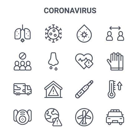 set of 16 coronavirus concept vector line icons.