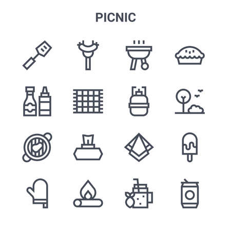 set of 16 picnic concept vector line icons.