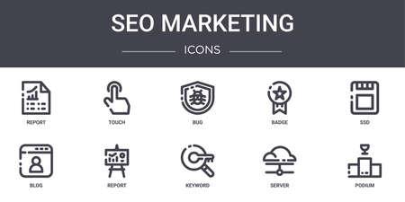 10 seo marketing concept line icons set.