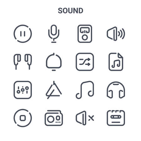 set of 16 sound concept vector line icons.  イラスト・ベクター素材