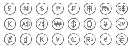 currency line icons. linear set. quality vector line