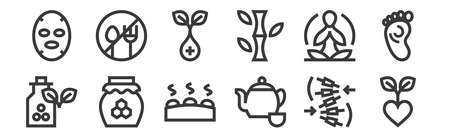 12 set of linear alternative medicine icons. thin outline.