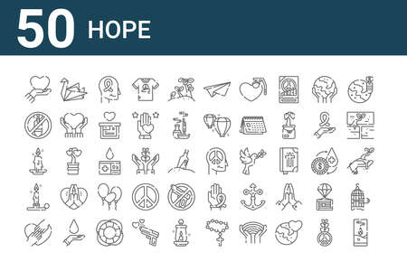 set of 50 hope icons. outline thin line