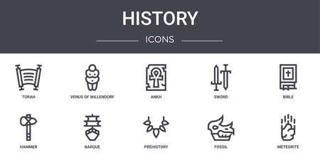 10 history concept line icons set.