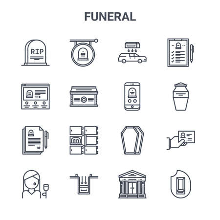 set of 16 funeral concept vector line icons.