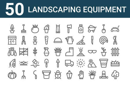 set of 50 landscaping equipment icons. outline thin line