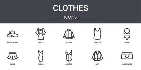 10 clothes concept line icons set.