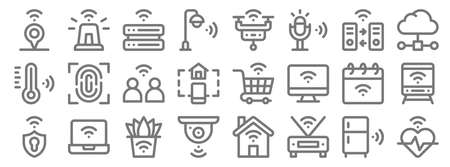 internet of things line icons. linear set. quality vector line.