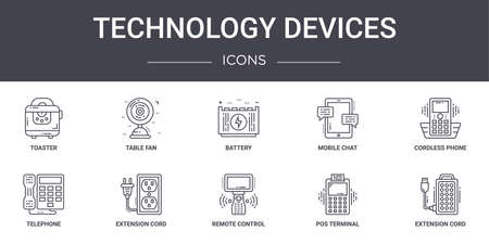 10 technology devices concept line icons set.
