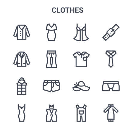set of 16 clothes concept vector line icons.