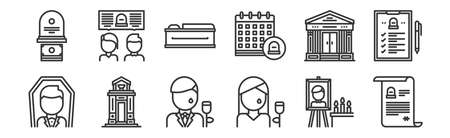 12 set of linear funeral icons. thin outline