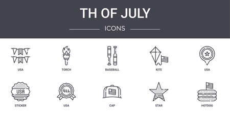 10 4th of july concept line icons set. 矢量图像
