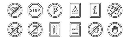12 set of linear signals and prohibitions icons. thin outline.