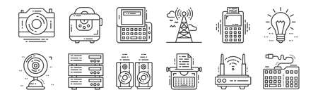 12 set of linear technology devices icons. thin outline. Ilustração