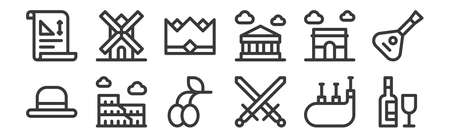12 set of linear europe icons.