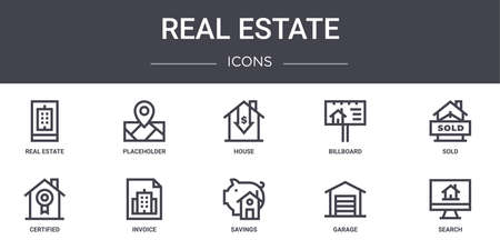 10 real estate concept line icons set.