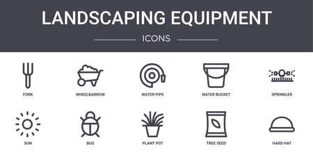 10 landscaping equipment concept line icons set.