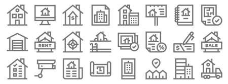 real estate line icons. linear set. quality vector line