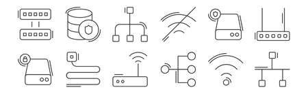 12 set of linear network and database icons. thin outline