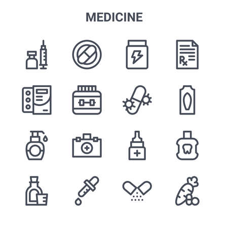set of 16 medicine concept vector line icons. Çizim