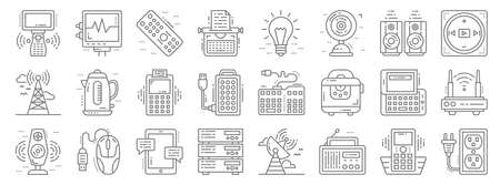 technology devices line icons. linear set. quality vector line