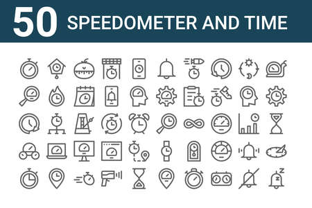 set of 50 speedometer and time icons. outline thin line