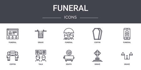 10 funeral concept line icons set.