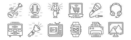 12 set of linear technology devices icons. thin outline