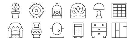 12 set of linear interiors icons. thin outline Stock Illustratie