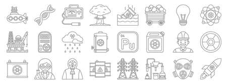 nuclear energy line icons. linear set. quality vector line