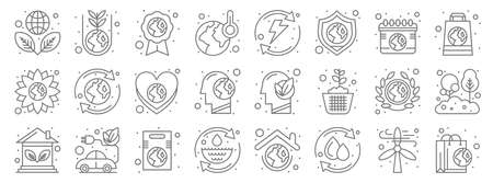 earth day line icons. linear set. quality vector line