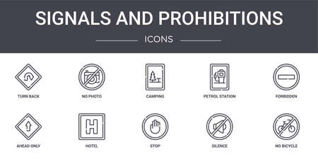 10 signals and prohibitions concept line icons set.