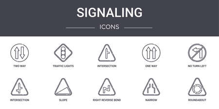 10 signaling concept line icons set.