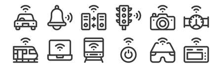 12 set of linear internet of things icons. thin outline