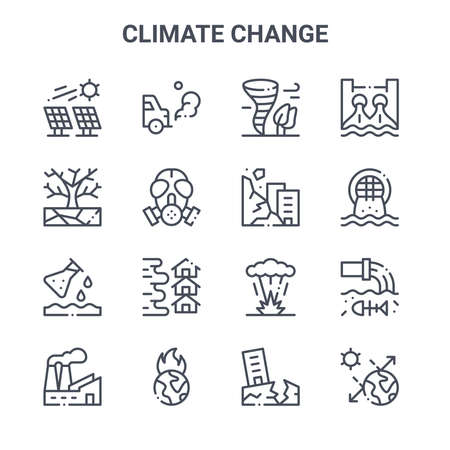 set of 16 climate change concept vector line icons.