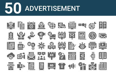 set of 50 advertisement icons. outline thin line