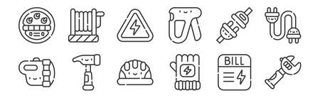 12 set of linear electrician tools and elements icons. thin outline Vettoriali