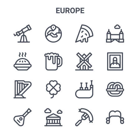set of 16 europe concept vector line icons. Vector Illustration