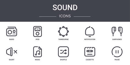 set of 10 sound concept line icons.  イラスト・ベクター素材