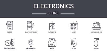 set of 10 electronics concept line icons set.