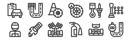 12 set of linear auto racing icons. thin outline