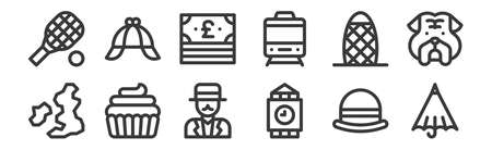12 set of linear england icons. thin outline Ilustracja